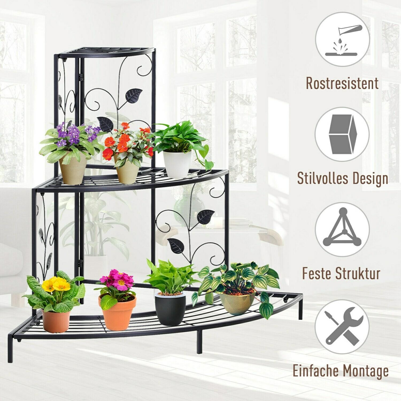 Outsunny® Pflanzenregal 3-stufiger Blumenstand Blumentreppe Displaystand Metall Schwarz