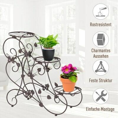 Outsunny® Pflanzenregal Dreistufiger Blumenstand Blumentreppe Pflanzenstand Metall Bronze