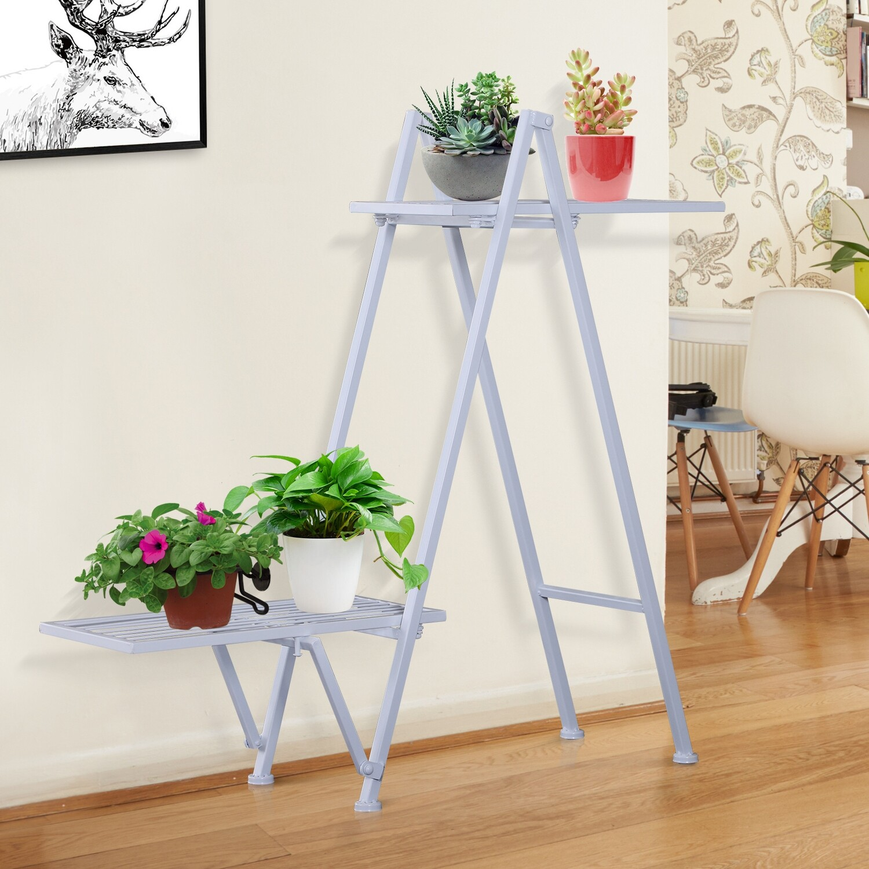 Outsunny® Pflanzregal Pflanzenständer Blumenständer Blumentreppe Metall Weiß 86 x 24 x 81 cm