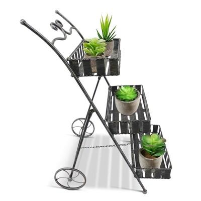 Outsunny® Pflanzregal Pflanzenständer Blumenregal Pflanzenkasten 3 x Ebene Metall Silbergrau 53 x 39 x 79 cm