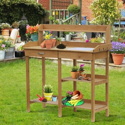 Outsunny® Pflanztisch mit Wanne Tannenholz H112cm Natur