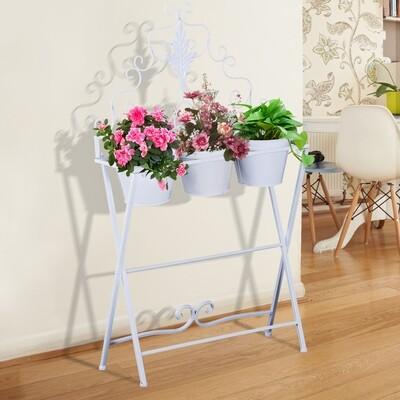 Outsunny® Pflanzregal Pflanzenständer Blumenregal Blumenständer mit 3 Kasten Metall Weiß 58 x 21 x 100 cm