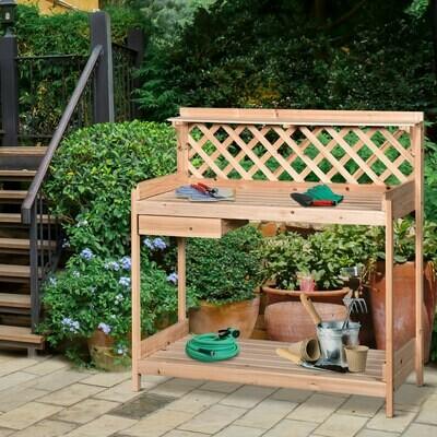 Outsunny® Pflanztisch Gärtnertisch für Garten Terrasse Balkon Blumentisch 2 Stufen mit Schublade Garten Massivholz