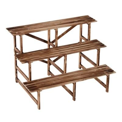 Outsunny® Pflanzentreppe Blumenregal Tannenholz 3 Stufen L120 x W80 x H80cm