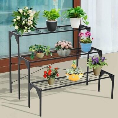 Outsunny® Blumentreppe Blumenständer Pflanzenständer Blumenregal Blumenbank Metall Schwarz 85 x 65,5 x 66 cm