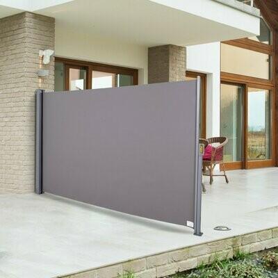 Outsunny® Seitenmarkise Sichtschutz Sonnenschutz Seitenrollo Polyester Grau 300x160 cm