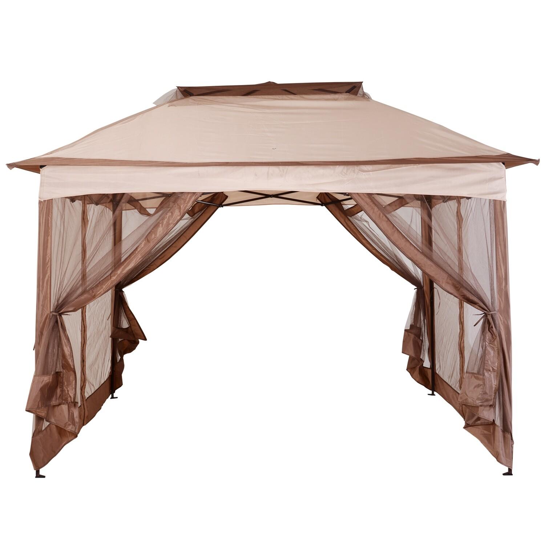 Outsunny® Pavillon Faltpavillon Gartenzelt Khaki 3,25x3,25x2,95m