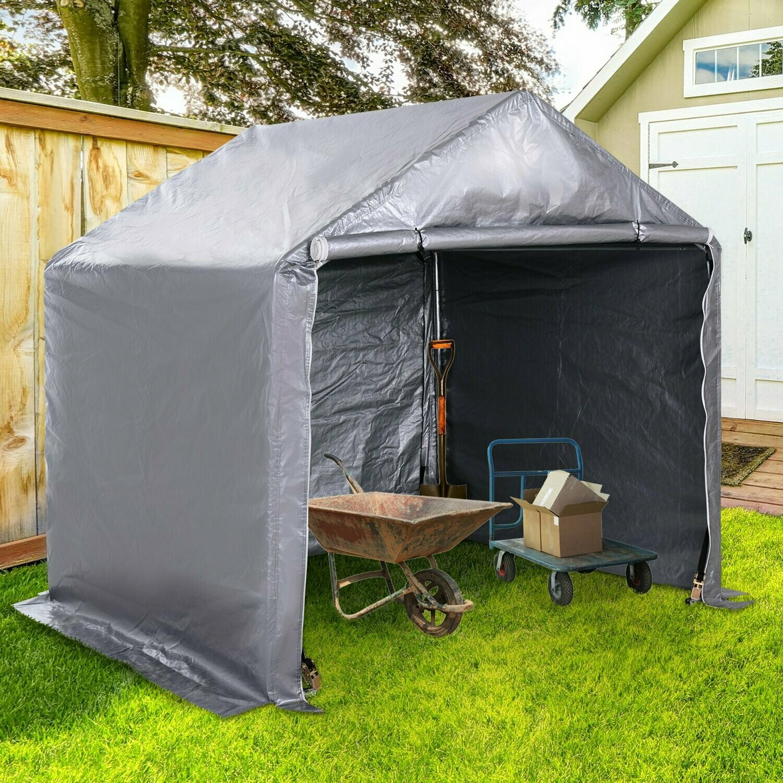 Outsunny® Carport Garagenzelt Lagerzelt für Strandbuggy, Rasenmäher, Gartengeräte,  mit Heringe Stahl PE Grau 2 x 2 x 2 m