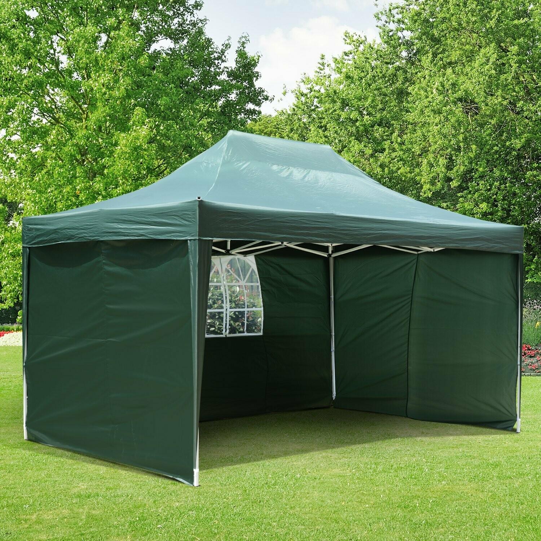 Outsunny® Faltpavillon 3x4,5m inkl. 3 Seitenteile wetterfest Grün