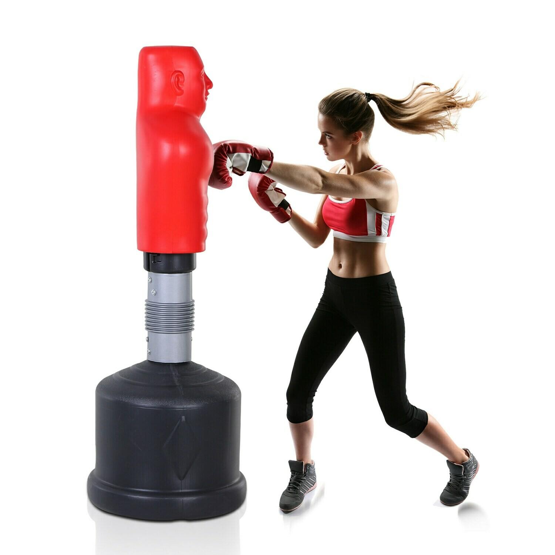 HOMCOM® Standboxsack Boxdummy Boxsäule Höhenverstellbar Freistehend Boxtraining Rot