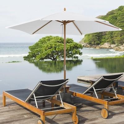 Outsunny® Sonnenschirm Gartenschirm Sonnenschutz 3-stufig Bambus 180/㎡ Polyester Creme