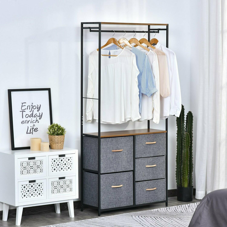 HOMCOM® Garderobenständer Korridor Garderobe 5 Schubladen Kleiderstange Stahl Grau