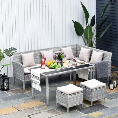 Outsunny® 5-tlg. Gartenmöbel Set Rattan Sitzgruppe mit Esstisch 2 Fusshocker Metall Grau