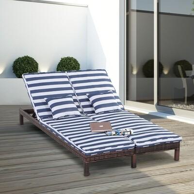 Outsunny® Gartenliege Doppelliege Relaxliege für 2 Personen 5-stufig Metall PE Rattan Blau