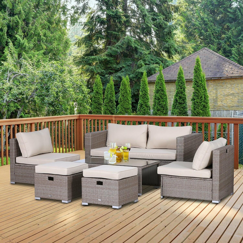 Outsunny® Rattan Sitzgarnitur 6-teilige Sitzgruppe Gartenmöbelset Couchtisch Metall Khaki