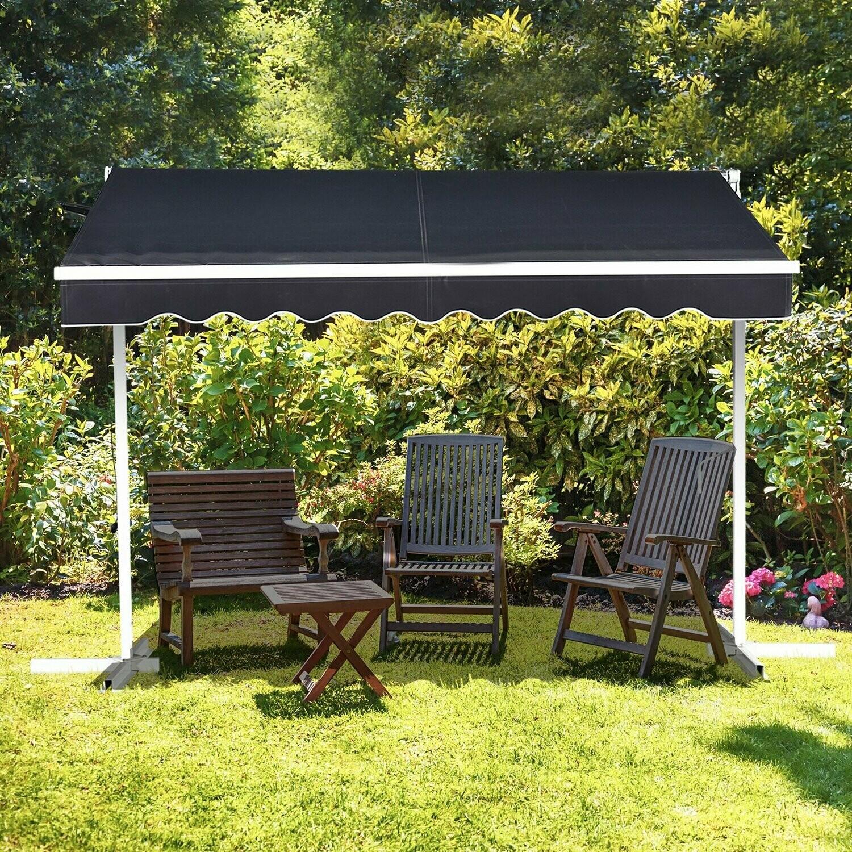HOMCOM® Sonnenstore Standmarkise LED Solarlichter Faltarm Kurbel Polyester Schwarz