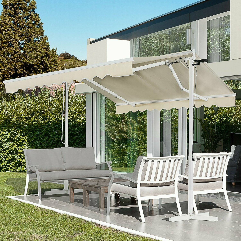 Outsunny® Standmarkise Standmarkise LED Solarlichter Faltarm Kurbel Polyester Creme