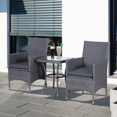 Outsunny® Gartensitzgruppe 3-tlg. Sitzgarnitur mit Beistelltisch Polyrattan Stahl Grau