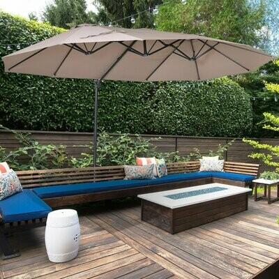 Outsunny® Sonnenschirm mit Kurbel Doppelschirm Gartenschirm Sonnenschutz Metall Braun