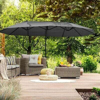 Outsunny® Sonnenschirm mit Kurbel Doppelschirm Gartenschirm Sonnenschutz Metall Grau