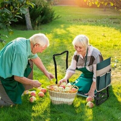 Outsunny® Kniebank Gartenhocker 2-in-1 Kniehilfe Klappbar Werkzeugtasche EVA-Schaumstoff