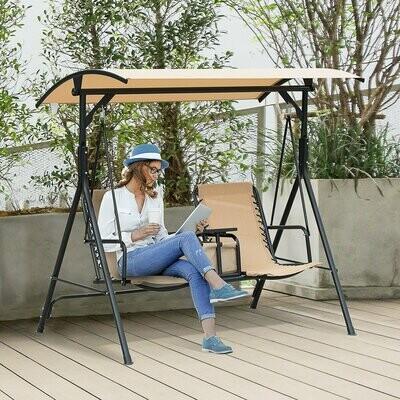 Outsunny® Hollywoodschaukel Gartenschaukel Sonnendach Aufbewahrungsbox Becherhalter Teslin