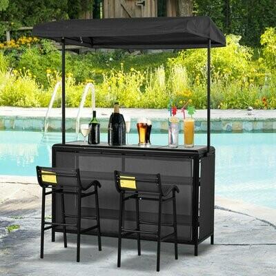 Outsunny® Outdoor-Bartisch Set Bistrotisch mit Dach 2 Barstühle 3 tlg. Sitzgruppe Teslin