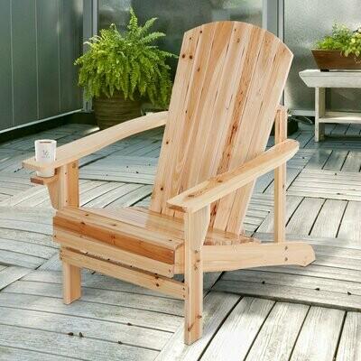 Outsunny® Gartenstuhl Gartenliege Balkonstuhl mit Becherhalter Massivholz Natur