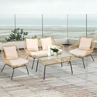 Outsunny® Sitzgruppe Outdoor Sitzgarnitur Gartenmöbel Set mit Couchtisch Rattan Beige