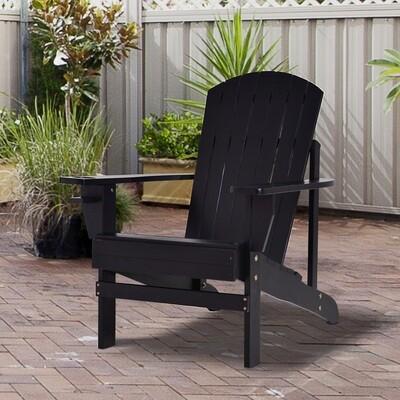 Outsunny® Gartenstuhl Gartenliege Balkonstuhl mit Becherhalter Massivholz Schwarz
