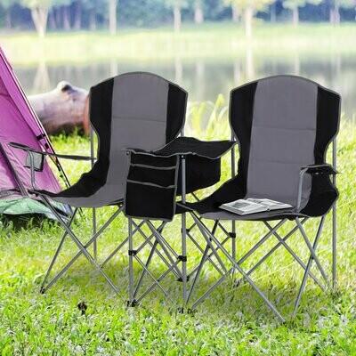 Outsunny® Doppel-Campingstuhl Klappstuhl mit Getränkehalter und Eisbeutel Armlehne Oxford