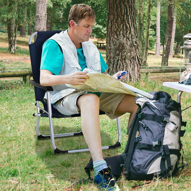Outsunny® Campingstuhl Klappstuhl Gartenstuhl mit Armlehnen Outdoor Aluminium