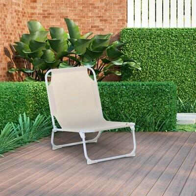 Outsunny® Campingstuhl Klappstuhl Strandstuhl Outdoor Garten Balkon Oxford Creme