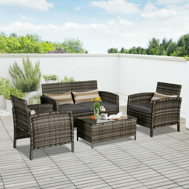 Outsunny® Sitzgarnitur 4-tlg. Sitzgruppe Gartenmöbelset mit Couchtisch Stahl Rattan Grau