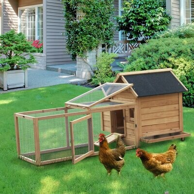 PawHut® Hasenstall Hühnerstall Laufstall Auslauf Geflügelstall mit Stange Nistkasten Massivholz