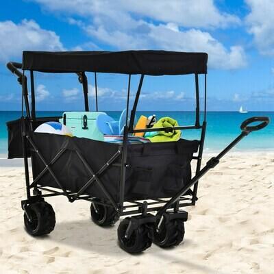 DURHAND® Bollerwagen Handwagen Gartenwagen mit Dach Faltbar extra Staubox Oxford Schwarz