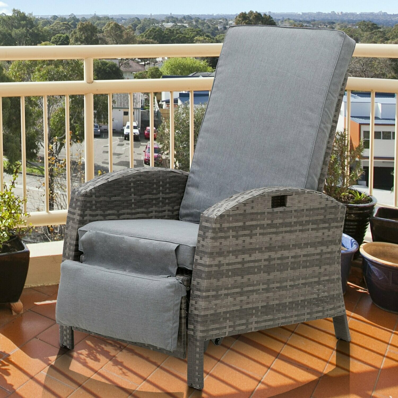 Outsunny® Rattanstuhl Liegestuhl Klapptisch Verstellbare Rückenlehne Fussstütze Metall