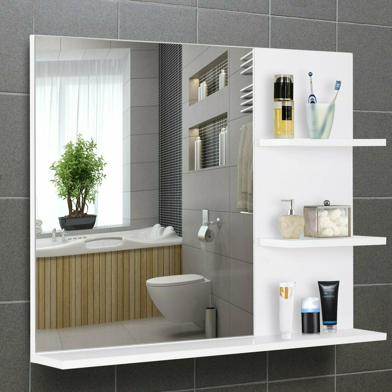 kleankin® Badspiegel mit 3 Ablagen Wandspiegel Spiegelregal Badezimmer MDF Weiss