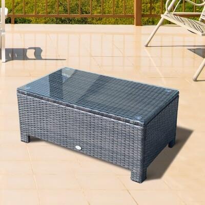 Outsunny® Garten Beistelltisch Couchtisch Gartentisch Balkontisch ESG PE-Rattan Braun
