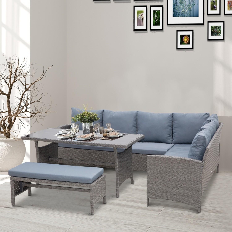 Outsunny® Sitzgarnitur 4-tlg. Sitzgruppe Rattan Gartenmöbelset Beistelltisch Metall Grau