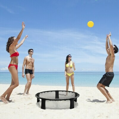 HOMCOM® Spike Ball Ballspielset 3 Bälle Mini Volleyball Outdoor Fitnessgeräte ABS Gelb