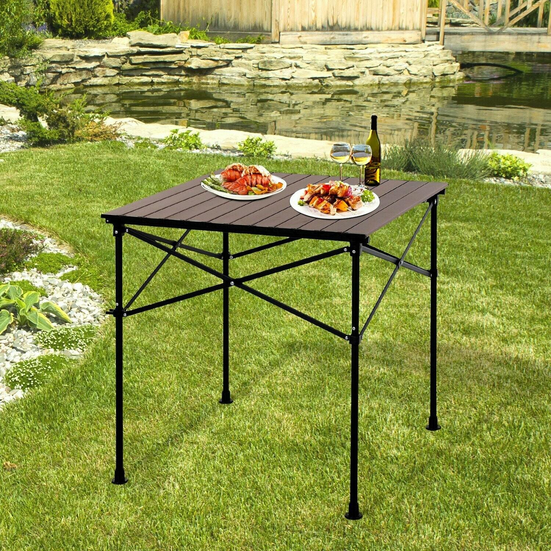 Outsunny® Campingtisch mit Holzmaserung Klapptisch Picknicktisch Alu-Legierung Dunkelbraun