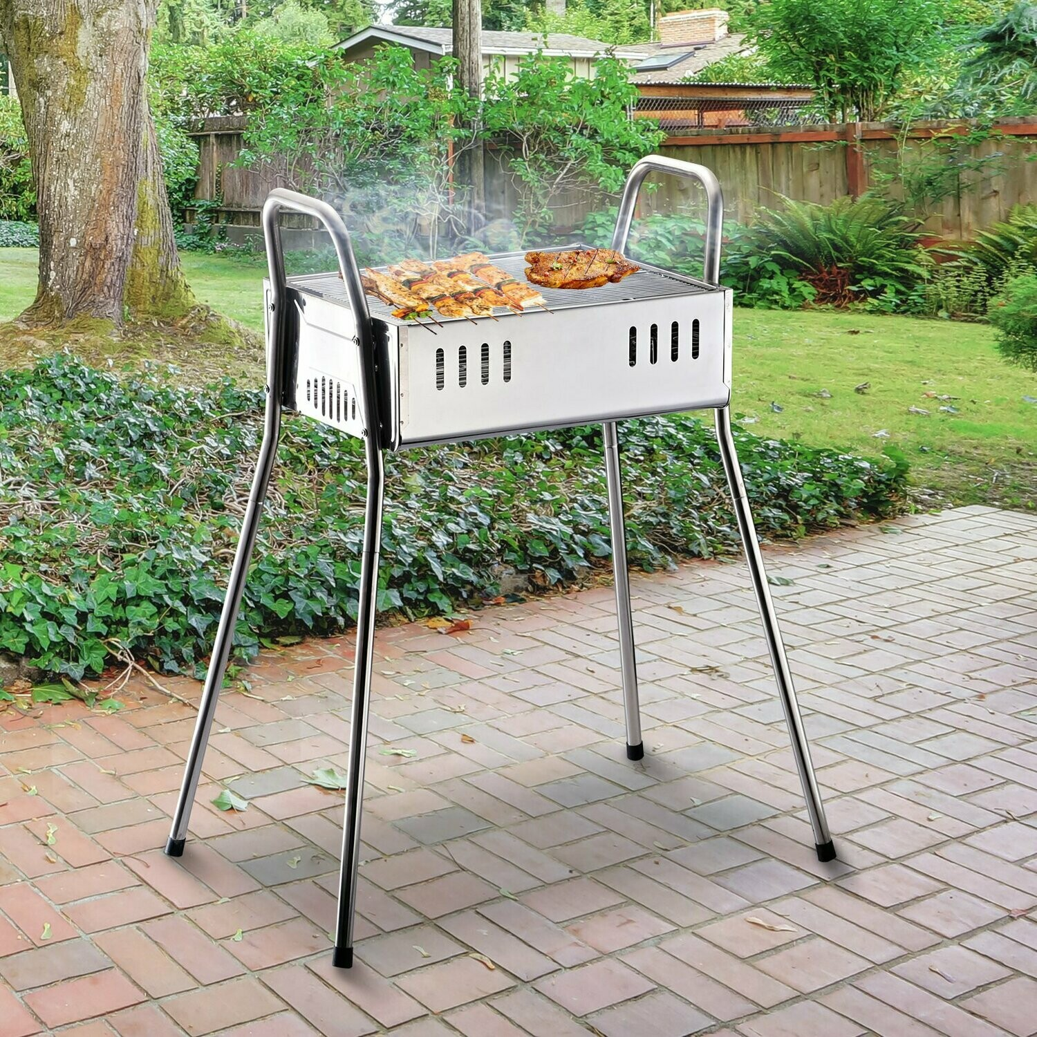 Outsunny Holzkohlegrill, Standgrill, Abnehmbare Beine, Edelstahl, Silber