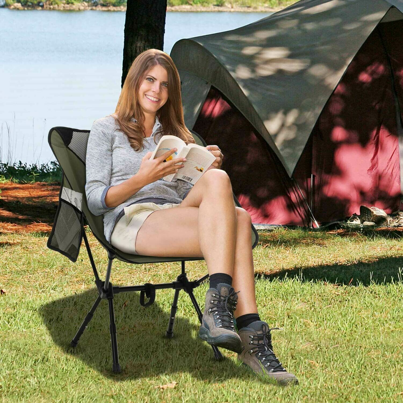 Outsunny® Campingstuhl mit Telefontasche Faltstuhl Angelstuhl Höhenverstellbar Alu Grün