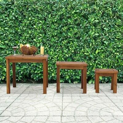 Outsunny® Garten Couchtisch 3er Set Stapeltisch Beistelltisch Kaffeetisch Akazie Natur