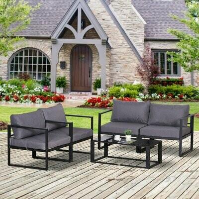 Outsunny® 4-tlg. Gartenmöbel Set Sitzgruppe mit Couchtisch Doppelsofa Kissen Alu Grau