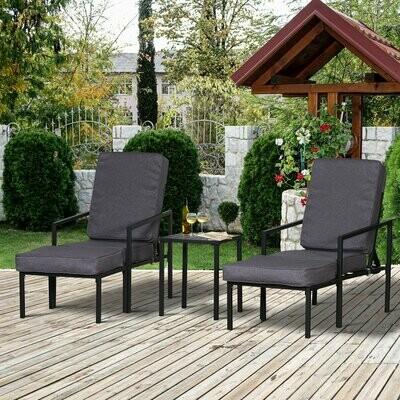 Outsunny® Sitzgruppe mit Kissen Sitzgarnitur Gartenmöbel Beistelltisch Fusshocker Metall