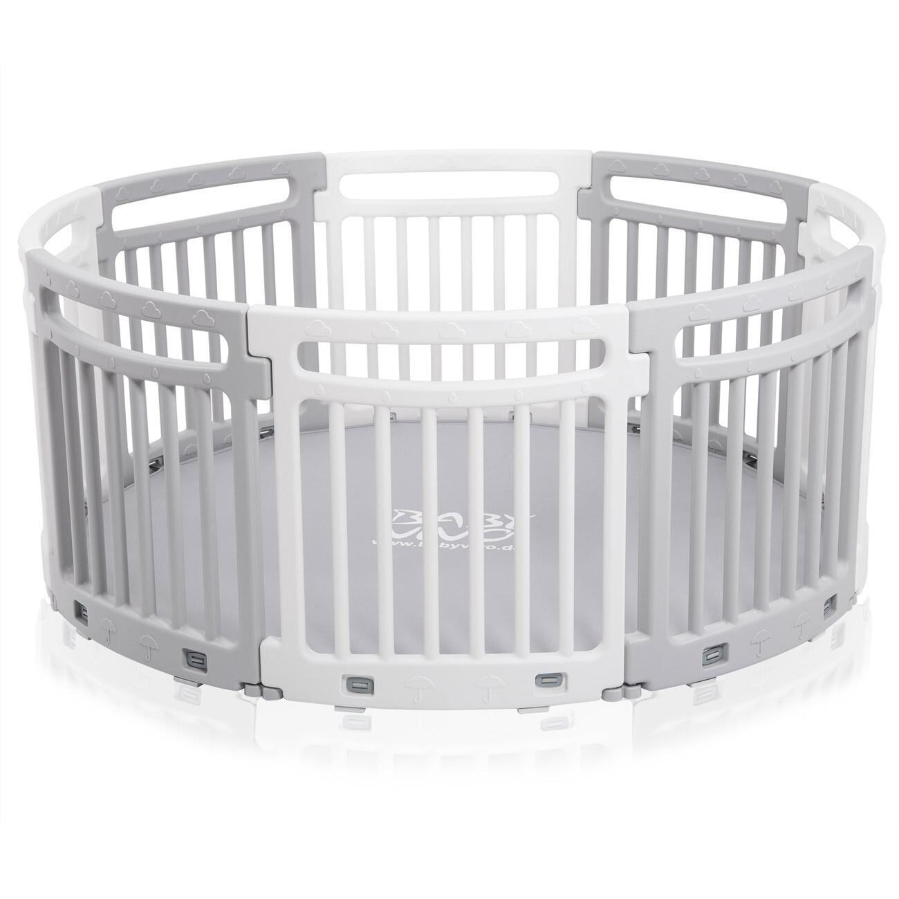 Baby Vivo Rundes Laufgitter aus Kunststoff 8 Elemente Grau / Weiß - Lucy