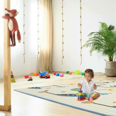 Baby Vivo Spielmatte / Spielteppich für Kinder doppelseitig mit Alphabet 200 x 180 cm - Galaxy