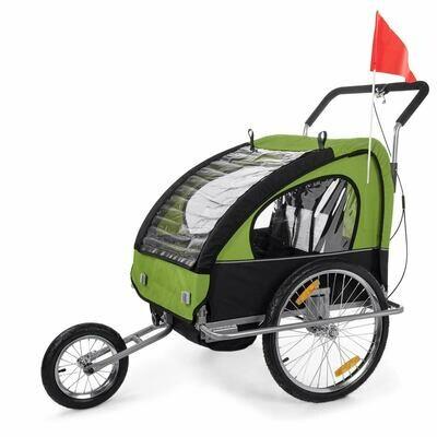 SAMAX Velo-Anhänger Fahrradanhänger 2in1 Jogger - in Grün/Schwarz - Silver Frame